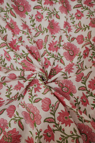 Pink and Green Floral  Block Printed Sanganeri Cotton Fabric