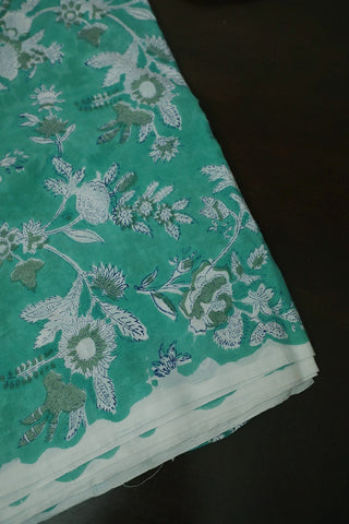 Blueish Green with White Floral Block Printed Sanganeri Cotton Fabric