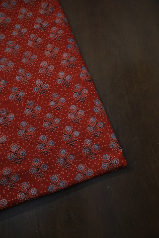 Maroon with Small Floral Ajrak Cotton Fabric