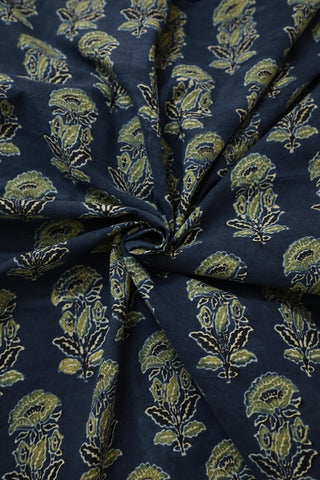 Indigo with Yellowish Green Floral Ajrak Cotton Fabric