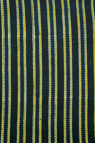 Indigo with Yellow Block Printed Ajrak Cotton Fabric