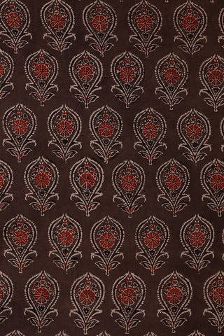 Greyish Brown Ajrak Cotton Fabric