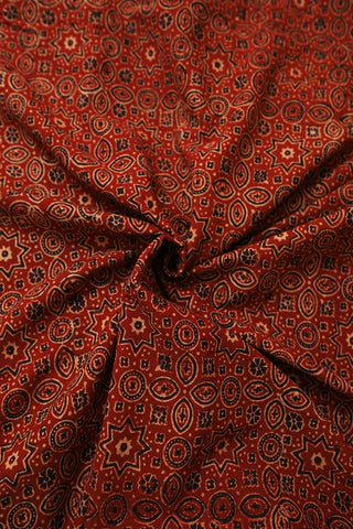 Intricate Rust Red Ajrak Cotton Fabric