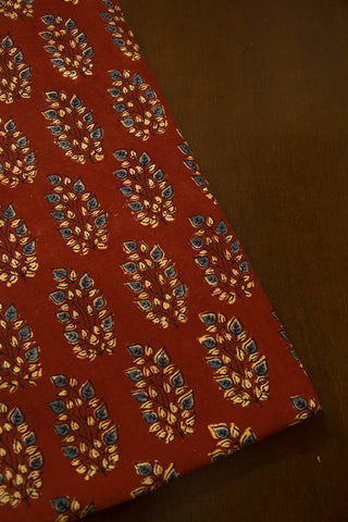Brick Red with Indigo LeavesAjrak Cotton Fabric
