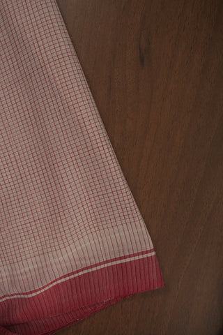 Offwhite Ganga Jamuna border Checkered Fabric