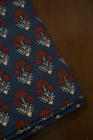 Indigo with Maroon Daisy Flower Ajrak Cotton Fabric