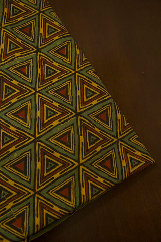 Green with Yellow Triangles Ajrak Cotton Fabric