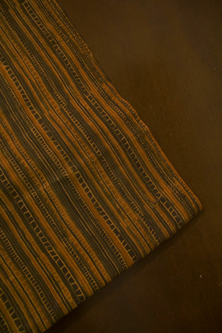 Brown with Mustard yellow Lines Ajrak Cotton Fabric