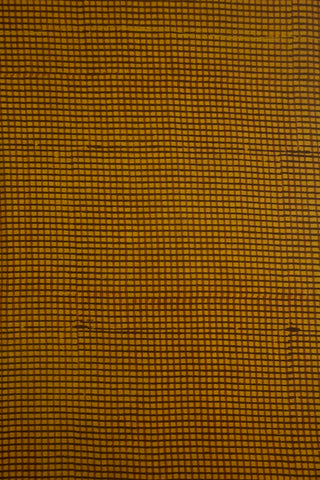 Mustard yellow Check Ajrak Cotton Fabric