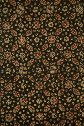 Greyish Black with maroon Stars Ajrak Cotton Fabric