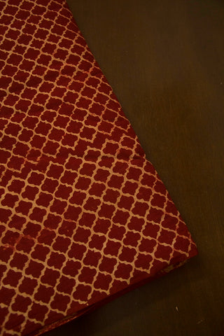 Maroon with Beige Ajrak Cotton Fabric