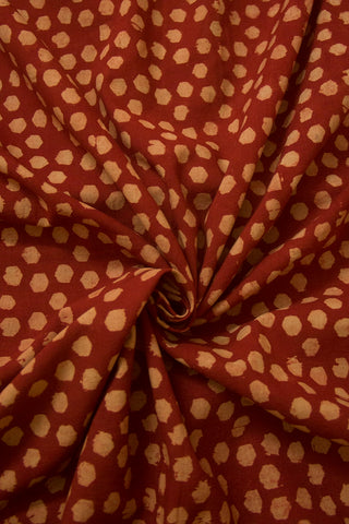Dots in Maroon Block Printed Ajrak Cotton Fabric
