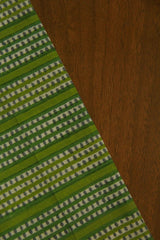 Green dotted Stripes Block Printed Cambric Cotton