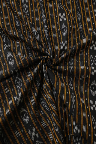 Black with Orange Lines Orissa Ikat Cotton Fabric-0.5m