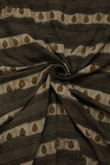 Grey with Brown Dabu Print Cambric Cotton Fabric