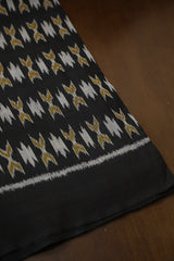 Black with Yellow Orissa Ikat Cotton Fabric-1.7m