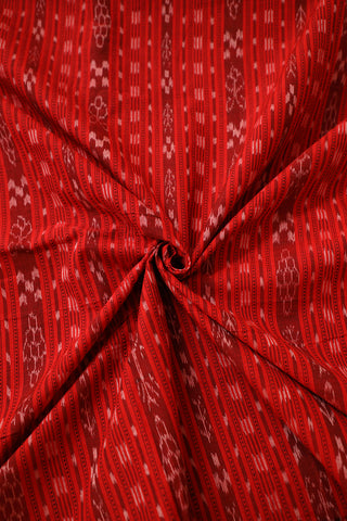 Red with Maroon Lines Orissa Ikat Cotton Fabric