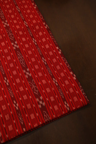 Lines in Red Orissa Ikat Cotton Fabric