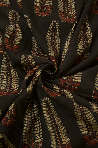 Black with Maroon Block Printed Ajrak Cotton Fabric