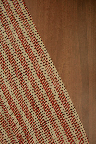 Beige with rust red Kantha Stitch Hand Block Printed Fabric