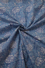 Shades of Blue Sanganeri Block Printed Cotton Fabric-0.95 m