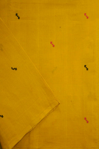 Yellow with Black Handwoven Cotton Fabric - 1m