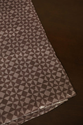 Greyish Brown Sanganeri Mul Cotton Fabric-0.8 m