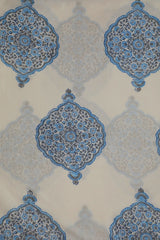 White with Blue Intricate Design Cotton Fabric