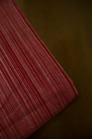 Maroon with Grey Stripes Handwoven Cotton Fabric-0.7m
