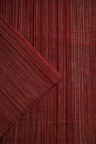 Maroon with Grey Stripes Handwoven Cotton Fabric