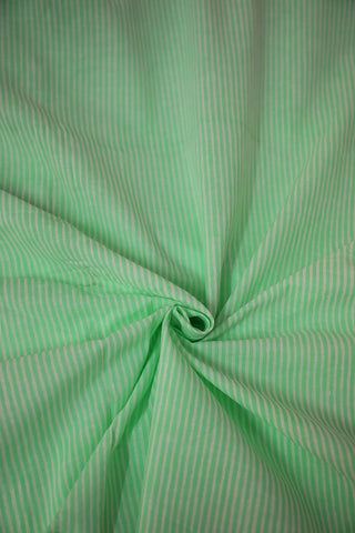 Off White with Green Lines Block Printed Cotton Fabric-0.9 m