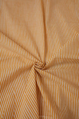 Off White with Brown Lines Block Printed Cotton Fabric