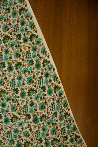 White with Shades of Green Floral Cotton Fabric