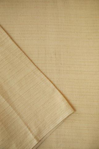 Off White Textured Ribbed Handwoven Cotton Fabric