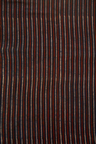 Indigo with Maroon Lines Ajrak Cotton Fabric
