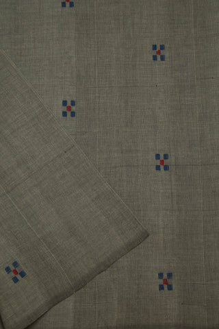 5 Square Buta in Grey Handwoven Cotton Fabric -0.6 m