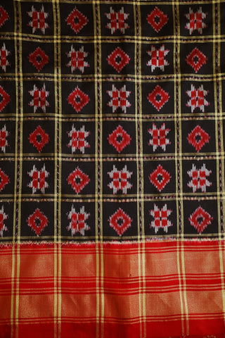 Telia Rumal Pattern Bordered Ikat Silk Fabric