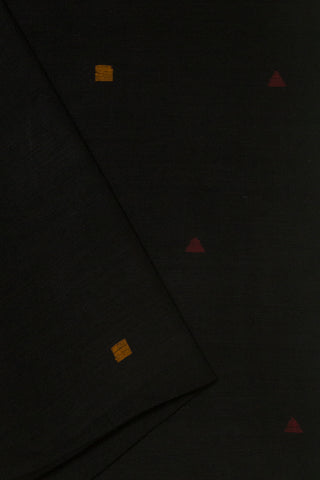 Black with Square Buta Jamdani Cotton Fabric
