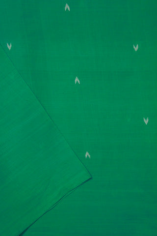 Blueish Green Handspun-Handwoven Jamdani Cotton Fabric