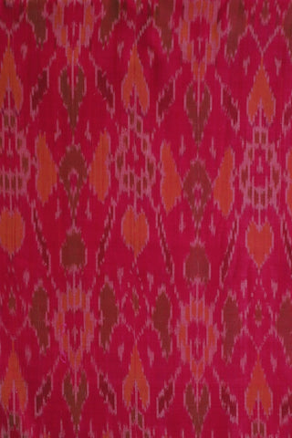 Pink with Orange Ikat Silk Cotton Fabric