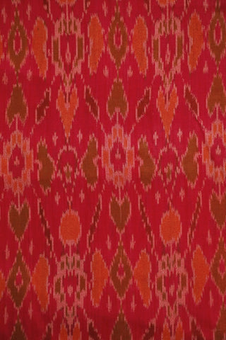 Reddish Pink with Orange Ikat Silk Cotton Fabric