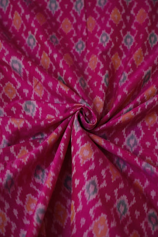 Pinkish Purple Ikat Silk Cotton Fabric