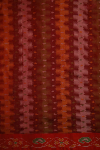 Double Shaded Brownish Maroon Ikat Silk Fabric