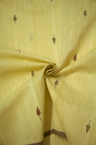 Light Beige with Brown Handspun-Handwoven Jamdani Cotton Fabric-1.7m