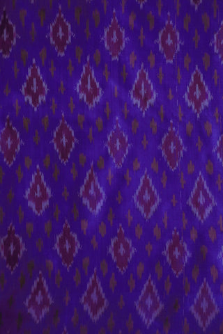 Royal Blue with Purple Diamond Ikat Silk Fabric