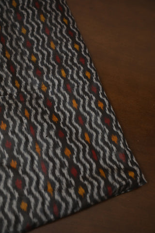 Elephant Gray Waves Ikat Silk Fabric