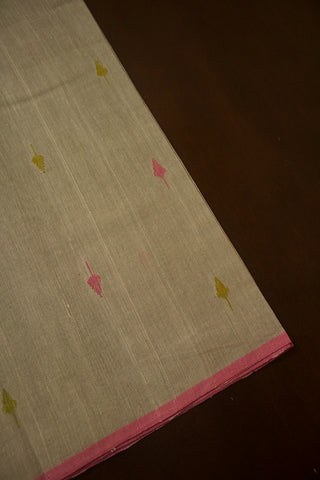 Grey with Pink Khadi Jamdani Cotton Fabric