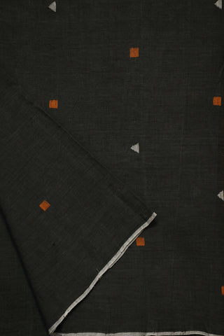 Elephant Grey Square and Triangle Buta Jamdani Cotton Fabric