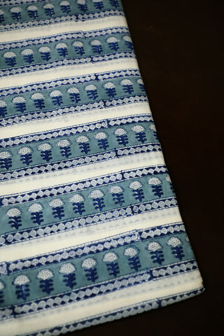 Indigo Blue with Off White Lines Mughal Print Mul Cotton Fabric