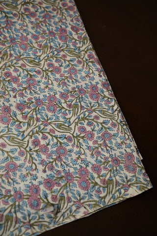 Pink with Blue Floral Chanderi Silk Cotton Fabric